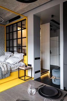 Un mini loft à Moscou par Cartelle Design (jour/nuit) - PLANETE DECO a homes world You are in the ri Home Interior, Interior Architecture, Interior Decorating, Interior Design, Decorating Ideas, Decor Ideas, Design Loft, House Design, Design Homes