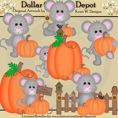 Autumn Mice Clip Art Set - *DGD Exclusive* - Created by Kristi W. Designs - Great for printable crafts, scrapbooking, embroidery patterns, and more! www.DollarGraphicsDepot.com