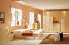 Here a blooming bedroom idea. There is simple and lite color combination interior. There is light placed above the cupboard and on the side there is windows in different panels.