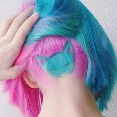 happy pink and blue kitty undercut bob