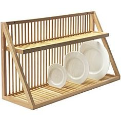 wooden plate rack on PopScreen kitchen plate storage Cabinet Plate Rack, Plate Rack Wall, Diy Plate Rack, Plate Shelves, Plate Storage, Wall Mounted Dish Rack, Wooden Dish Rack, Wooden Plate Rack, Wooden Plates