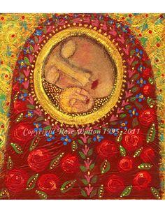 Circle of Love Madonna primitive religious folk art archival gicl?e print by Pennsylvania folk artist Rose Walton Madonna Und Kind, Madonna And Child, Religious Icons, Religious Art, Art And Illustration, Cat Illustrations, Madona, Art Du Monde, Blessed Mother Mary