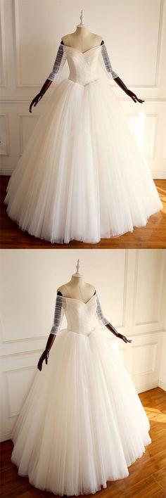 Light champagne off shoulder tulle beads long prom dress, wedding dress