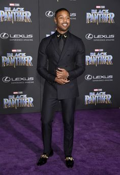 Michael B. Jordan in Calvin Klein at the Los Angeles World Premiere of 'Black Panther'