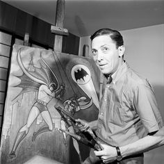 Bob Kane ~ creator of the Batman. Thank you so much Bob Kane my nerd life would be incomplete without Batman! Bob Kane, Comic Book Artists, Comic Artist, Comic Books Art, Batgirl, Catwoman, Nightwing, Gotham, Marvel Comics