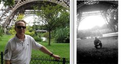 The picture on right was taken of my dad in 1944 after the Allies entered Paris near end of WWII.  Picture on left was of me near the same location taken July 09, 2012.