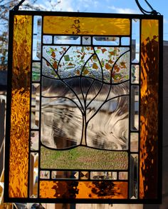 Stained Glass Window Personalized Autumn by stainedglassfusion Stained Glass Church, Stained Glass Designs, Stained Glass Projects, Stained Glass Patterns, Stained Glass Art, Stained Glass Windows, Beveled Glass, Mosaic Glass, Fused Glass