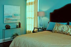 Abstract art in blue bedroom, what a beautiful view to wake up to!