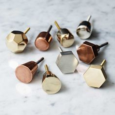 Polished Copper Metallic Round Drawer Handles / Cupboard / Cabinet Door Knobs, Gold Geometric Bombay Duck Lustre