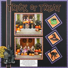 Classic Halloween Stickers Scrapbooking Layout Idea...I really like this one!! #scrapbooking