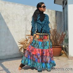 patch work long Skirt   #naturaleeza online store #hippiefashion
