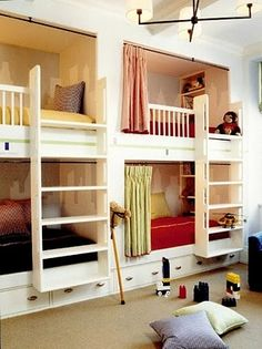 built in bunk beds- i love the shades idea! that way if one kid wants the light on to read or something, they dont bother the other(s) with the light! (my sister used to have to keep the top light on all night, it was on a dimmer but anything dimmer than daylight was too dark)