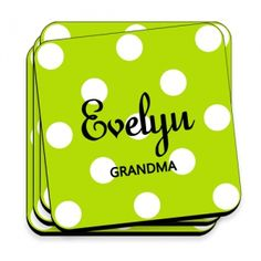 Great Unique Personalized Gift Ideas. Green Personalized Apple Polka Dot Coaster Set http://www.greatuniquegiftideas.com/product/green-personalized-apple-polka-dot-coaster-set/