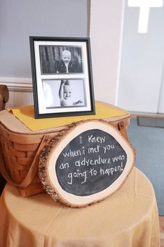 Another fun idea? DIY a Winnie the Pooh quote by painting a real wood disc with chalkboard paint and writing a favorite quote in chalk. | Winnie the Pooh First Birthday Party | Whit Meza Photography