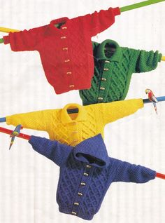 Vintage Knitting Pattern Instructions to Make Childs Aran Jacket Cardigan Hoodie