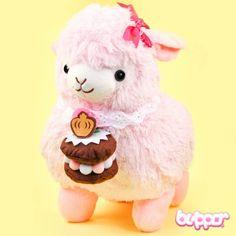 Alpacasso Plush with Cake - Medium / Pink