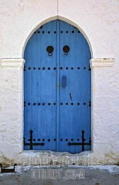 Old House with Typical Mediterranean blue door and white walls , Nicosia , Northern Cyprus