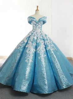 Blue Ball Gown Sequins Off The Shoulder Appliques Wedding Dress Silhouette:ball gown Hemline:floor length Neckline:off the shoulder Fabric:sequins Shown Color:blue Sleeve Style:sleeveless Back Style:lace up Embellishment:appliques Vintage Ball Gowns, Blue Ball Gowns, Ball Gowns Prom, Ball Gown Dresses, Evening Dresses, Blue Gown, Vintage Dresses, Floral Prom Dresses, Quince Dresses