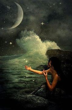 Imagine a Starless Sky Nocturne, Mermaids And Mermen, Beautiful Moon, Illustration, Wow Art, Moon Goddess, Mermaid Art, Celestial, The Villain