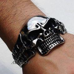Men Large & Heavy Skull 316L Stainless Steel Biker Bangle Cuff Bracelet