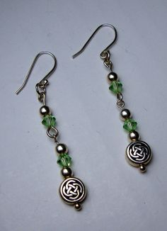 Erin Go Bragh!  Sterling Silver Celtic Bead and Crystal Drop by deevinedeesigns, $18.00