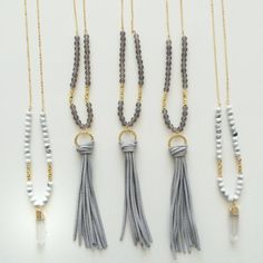 Leather tassel necklace beaded long necklace by AllGirlsneed
