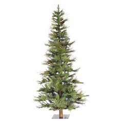 Vickerman Co. Ashland Wood Trunk Tree with Tips An 5' Green Fir Artificial Christmas Tree with Unlit with Stand