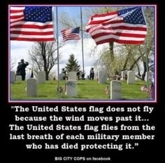 The US Flag does not fly because the wind moves past it. The US Flag flies from the last breath of each military member who has died protecting it.
