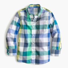 crewcuts Boys Slim Secret Wash Shirt In Large Check