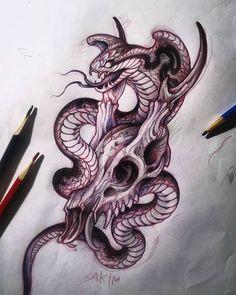 Tattoo Snake Ideas Traditional 49 New Ideas Tattoo Sketches, Tattoo Drawings, Body Art Tattoos, Sleeve Tattoos, Portrait Tattoos, Kobra Tattoo, Japanese Snake Tattoo, 4 Tattoo, Samoan Tattoo