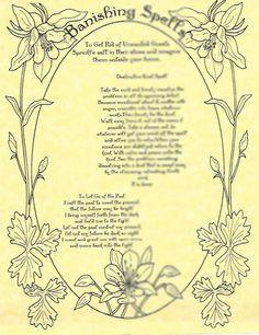 Book of Shadows page Banishing Spells Sheet picclick.com