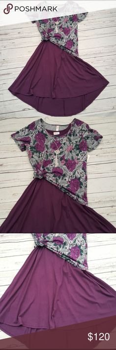 LULAROE CARLY Dress Classic T Outfit Plum Brand new LULAROE CARLY Dress in plum in a sz XS  60%cotton /40% modal so soft and stretchy   Classic T in a small LuLaRoe Dresses High Low