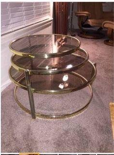 mid century milo baughman style brass plated tiered swivel glass
