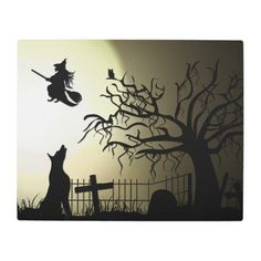 #Posters #Metal #Art - #Halloween Witch and Howling Dog Metal Print