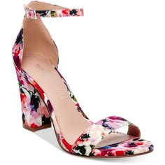 Madden Girl Bella Two-Piece Block Heel Sandals ($49) ❤ liked on Polyvore featuring shoes, sandals, floral multi, block-heel sandals, special occasion sandals, heeled sandals, special occasion shoes and block heel sandals