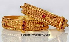 Traditional Antique Gold Broad Bangles