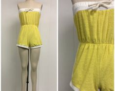 1970s Yellow Romper 70s Terry Cloth