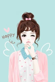 Shared by Quỳnh Hương. Find images and videos about girl, cute and pink on We Heart It - the app to get lost in what you love. Korean Anime, Korean Art, Korean Illustration, Illustration Girl, Girl Cartoon, Cute Cartoon, Illustration Mignonne, Lovely Girl Image, Girly M