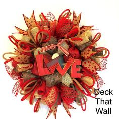 Red and Tan Poly Burlap Valentine's Day Mesh Wreath – Deck That Wall
