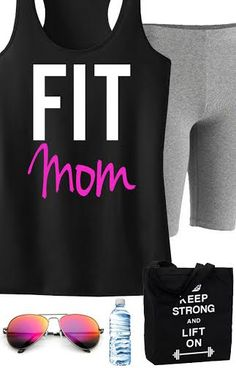 #Workout #Tank and #Gear for all the fit mom's out there! Featuring a FIT MOM Tank and KEEP STRONG LIFT ON Tote. By NoBullWomanApparel, $24.99 on Etsy. Click here to buy https://www.etsy.com/listing/166155239/fit-mom-workout-tank-racerback-black?ref=shop_home_active_18