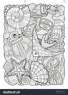 Coloring book for adult summers sea