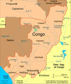 President: Denis Sassou-Nguesso (1997)  Prime Minister: Denis Sassou-Nguesso  Land area: 131,853 sq mi (341,499 sq km); total area: 132,047 sq mi (342,000 sq km)  Population (2014 est.): 4,662,446 (growth rate: 1.94%); birth rate: 36.59/1000; infant mortality rate: 59.34/1000; life expectancy: 58.52  Capital and largest city (2011 est.): Brazzaville, 1.611  Other large city: Pointe-Noire, 834,000  Monetary unit: CFA Franc