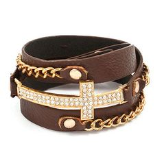Hailey Sideways Cross Wrap Bracelet in Brown