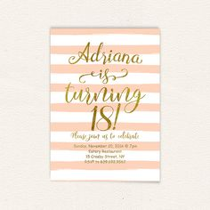 Birthday party printable invitation 18 years oldhappy