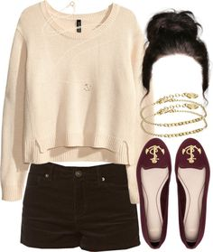 H M short sweater, $13 / Forever 21 shorts / Pull Bear loafers flat, $9.97 / Minor Obsessions anchor pendant / Made bracelet jewelry, $20