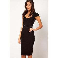 Black Fashion Slimming Midi Dress