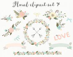 Blumen Clipart Hochzeit Clipart Digital Kranz von Thelittleclouddd