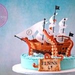 Giant Squid Attack!!!  (Don't worry… the ship wins. ;) Pirate Ship Cake