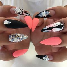 Cute bright colors ♡♡ ongle gel, jolis ongles, ongles corail, ongles d Get Nails, Matte Nails, Love Nails, Hair And Nails, Acrylic Nails Stiletto, Pointed Nails, Coffin Nails, Fabulous Nails, Gorgeous Nails