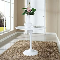 "LexMod - Lippa 36"" Fiberglass Dining Table in White"